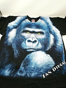 Vintage-90s-3D-All-over-gorilla-T-shirt-single-stitch-XL-san-diego-zoo-trinity
