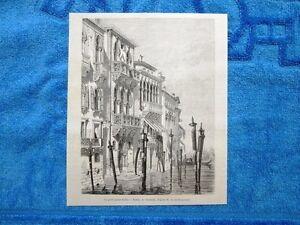 Gravure-Annee-1862-Le-petit-palais-Ferro-Venise-Italie-Piccolo-palazzo-Ferro