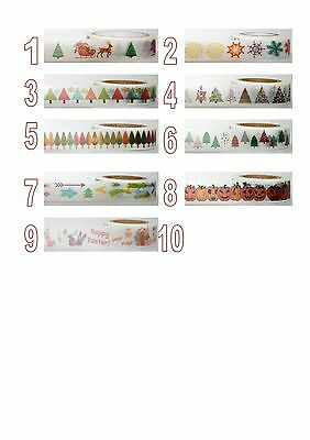 15mm x 10 metre Christmas Easter Halloween Japanese Washi Craft Tape roll