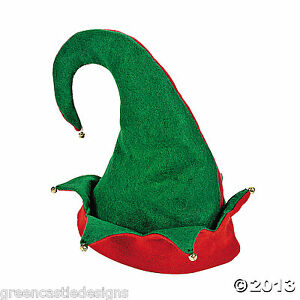 Elf-Hat-Bells-Christmas-Holiday-Costume-Red-Green-Party-Accessory-Photo-Prop