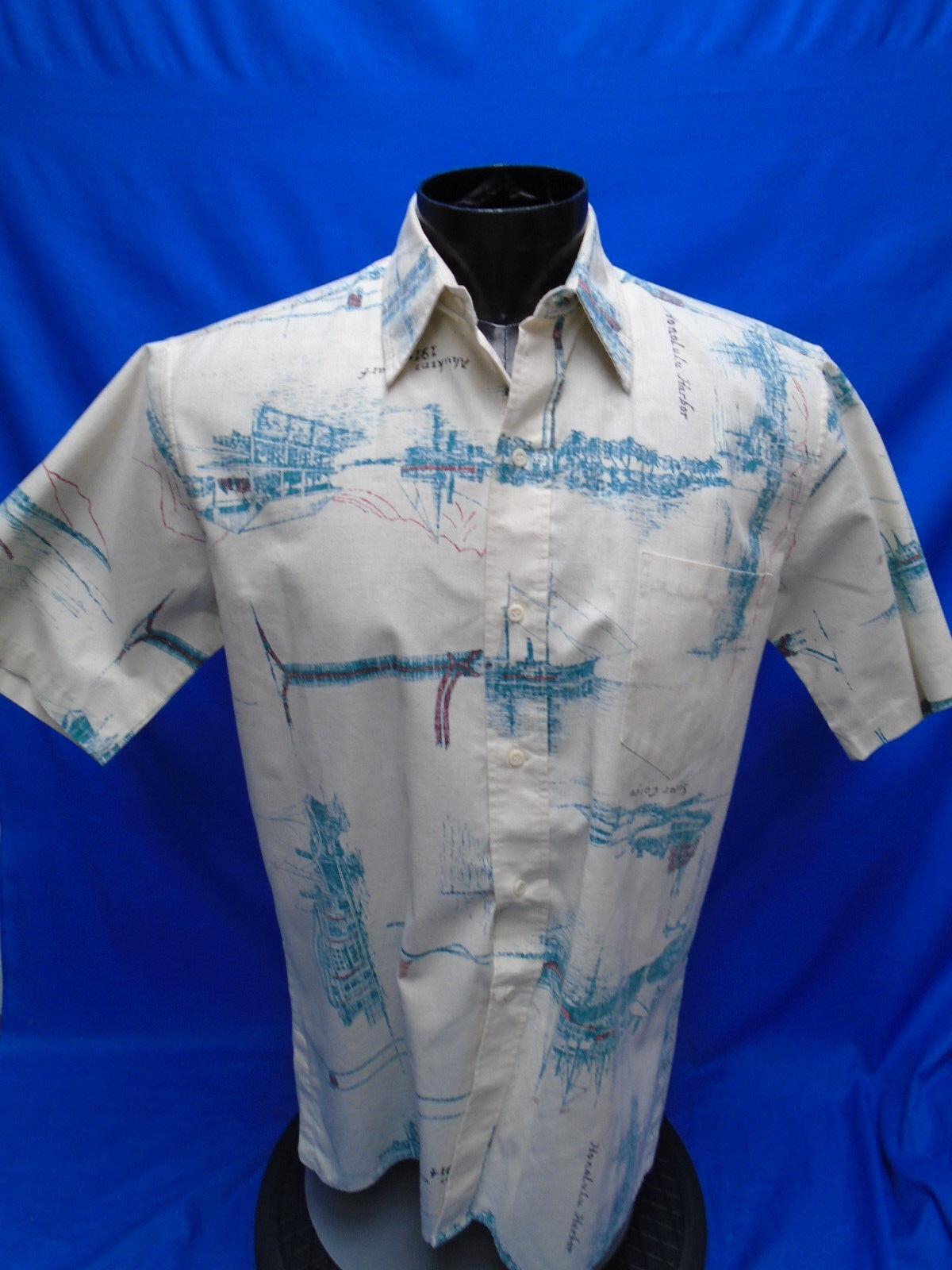 Men's Reyn Spooner Hawaiian Shirt Button Hawaii Reverse Print Aloha L