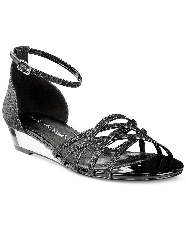 Easy Sandals Street Women's Tarrah Evening Sandals Easy Size 8.5WW Black Glitter f8d586