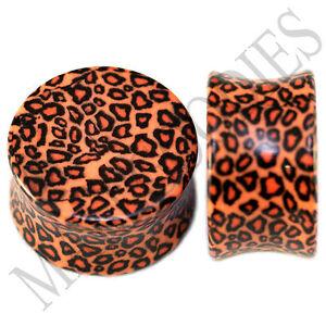 0198-Double-Flare-Acrylic-Leopard-Cheetah-Print-Saddle-Ear-Plugs-3-4-034-Inch-20mm