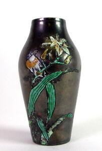tolle-kleine-Jugendstil-Vase-emailliert-Voegel-amp-Blumen