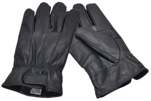 Men/'s Large Black Real Leather Gloves with Velcro Fastening