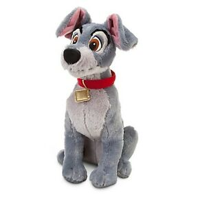 """Disney Store Lady & the Tramp BIG Plush Toy Doll 16"""" Grey Boy Dog Stuffed Animal"""