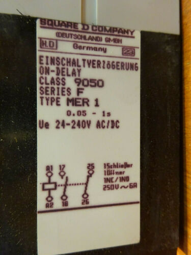 Details about  /Square D MER time relay 9050