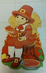Vintage Thanksgiving Cardboard Paper Die Cut Out Pilgrim Boy Flocked
