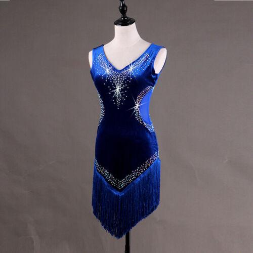 2019 Women/'s Latin Rumba Tango Samba diamante Competition Dance Dress 037