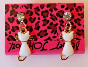 Betsey-Johnson-Crystal-Rhinestone-Enamel-Cat-Post-Earrings