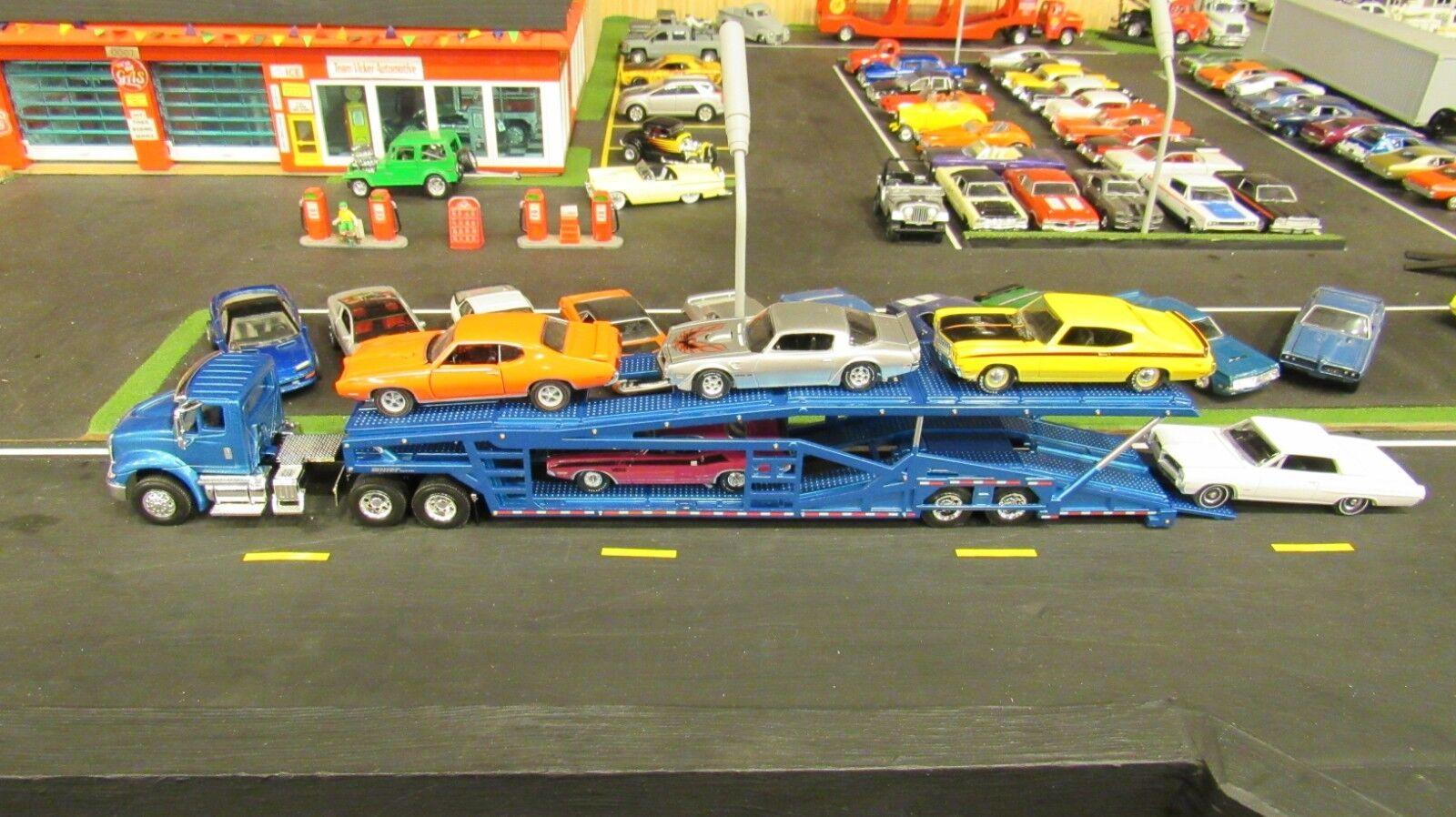 SPECCAST blueE IH 8600 SEMI CAR CAR CAR TRANSPORT TRANSPORTER CARRIER TRAILER 1 64  MTB a65f8d