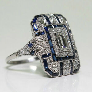Noble-Silver-White-Topaz-amp-Blue-Sapphire-Ring-Wedding-Bridal-Women-Jewelry-6-10