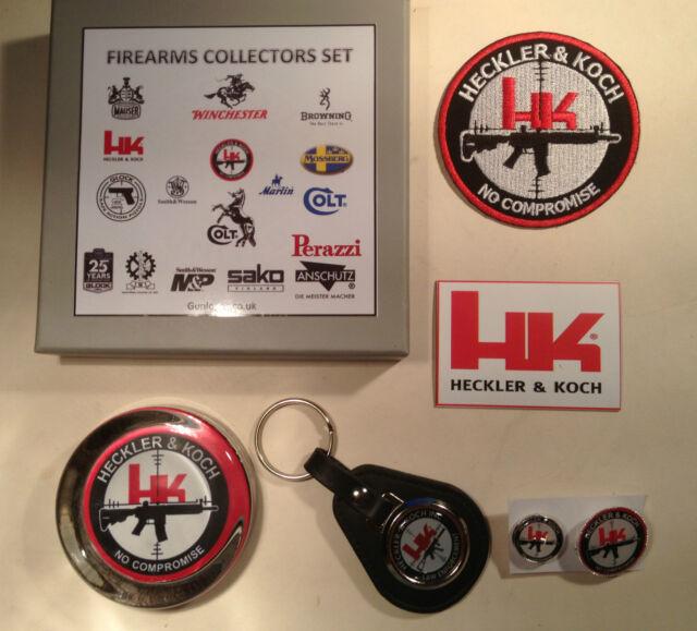 HECKLER & KOCH GUNS COLLECTORS SETS: PAPERWEIGHT, PATCH, KEYRING, BADGES, MAGNET