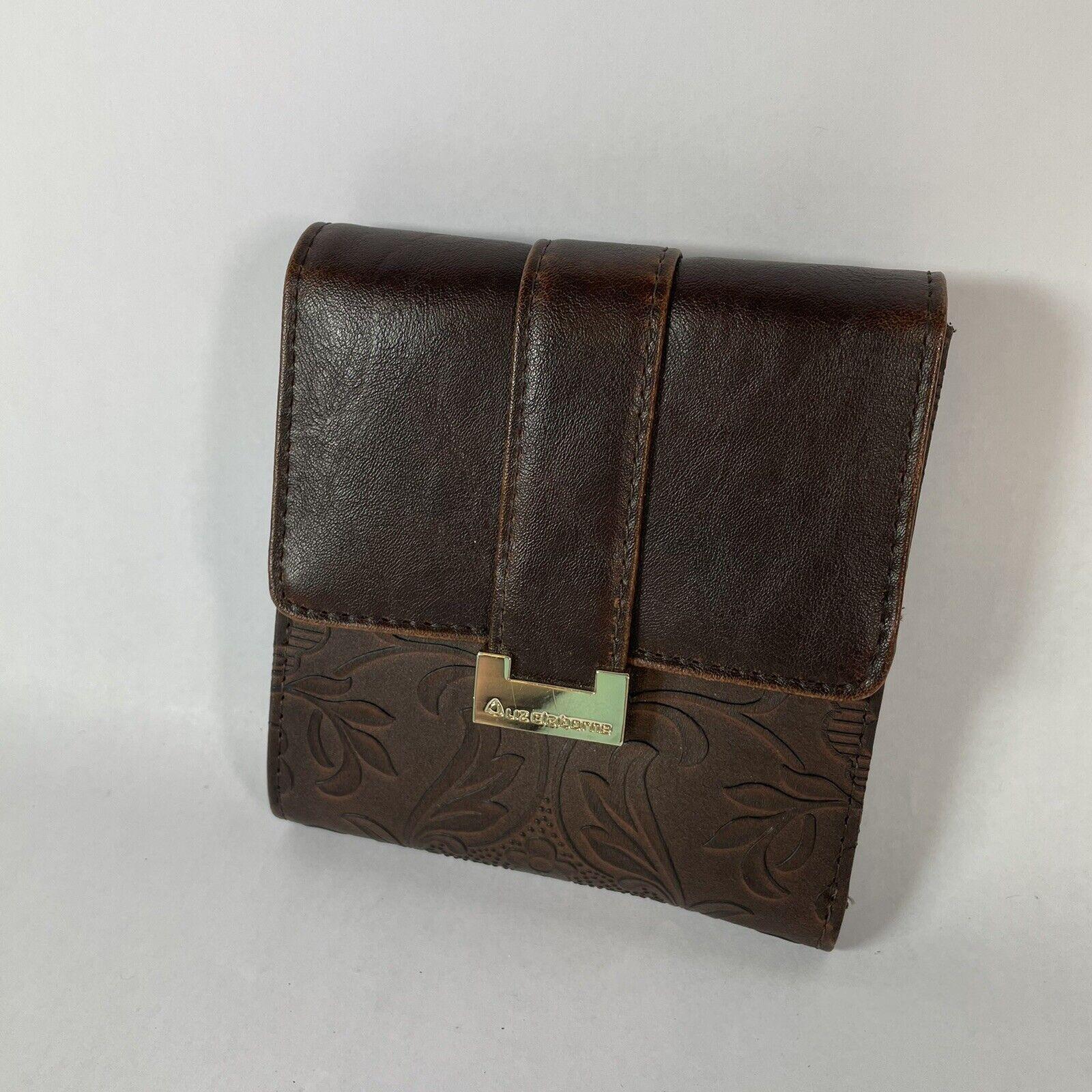 Liz Claiborne Brown Leather Floral Snap Button Wallet