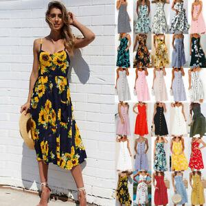 be681087b680 UK BOHO Womens Ladies Summer Beach Midi Dress Holiday Strappy Button ...