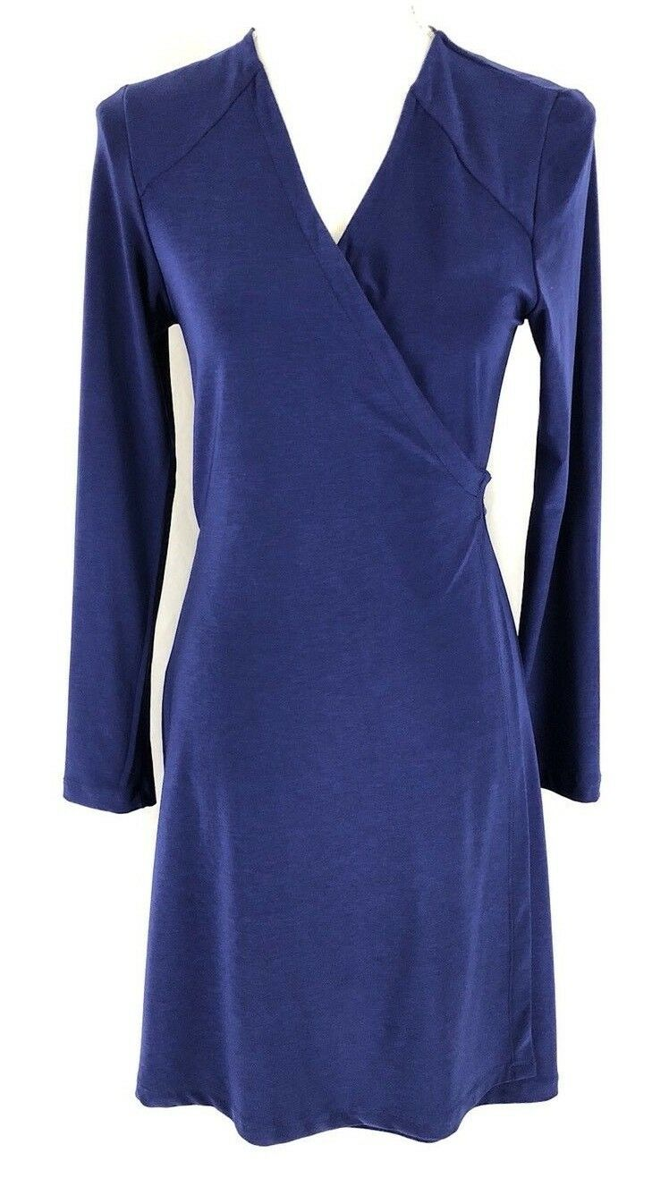 Komarov Wrap Dress Solid Purple Basic Size M Petite
