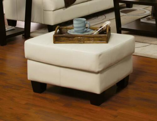 Samuel Cream Bonded Leather Ottoman Footstool by Coaster 501694