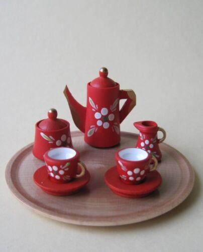 Kaffeeservice Blumenmuster rot 9 Teile Puppenhaus Miniaturen 1:12 Erzgebirge