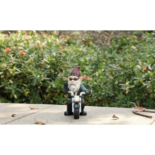 Gnome Biker Riding Motorcycle Middle Finger Figurine Statue Home Garden New