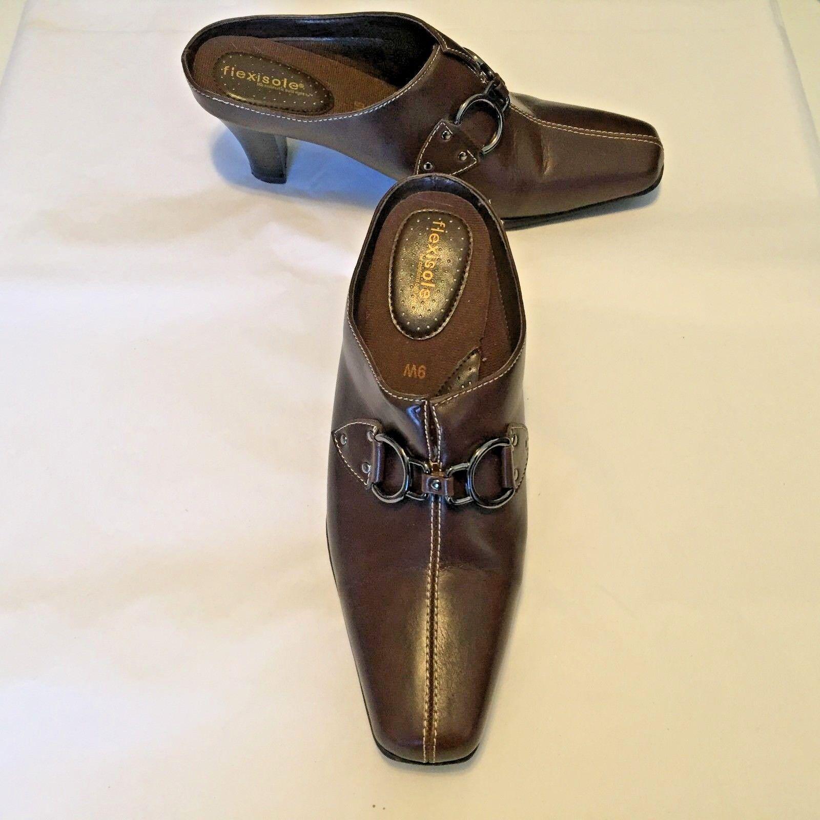 Flexisole Women's Shoes Brown Faux Leather Slides Wide 2.5