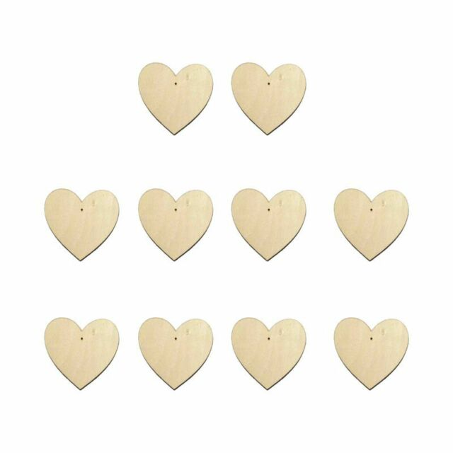 10 X Wooden Heart Shapes Large Plain Wood Craft Tags With Hole (10cm) M4h3  B3