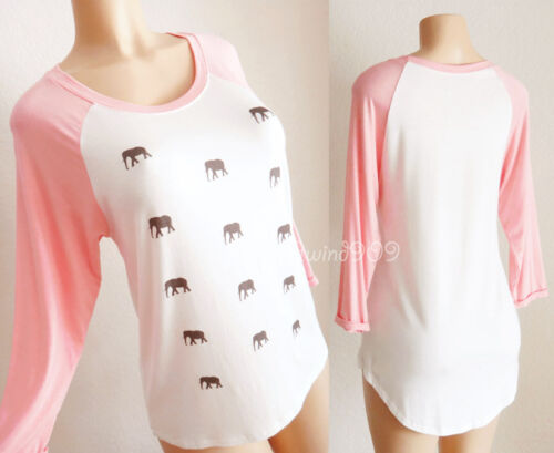 NEW Coral Pink Ivory Elephant Graphic High Low Raglan Soft Lounge Baseball Top