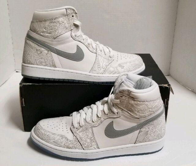 a8fb5f85e636f2 Nike Air Jordan 1 Retro Hi OG Laser Men s Sz 10 NEW White Silver 705289