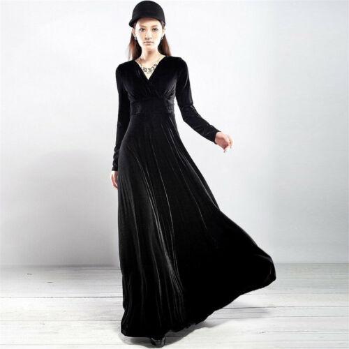Women Solid V Neck Long Sleeve Velvet Party Evening Long Maxi Dress Plus Size