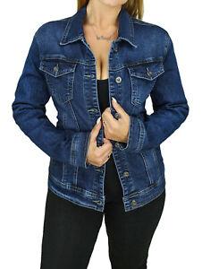 Giacca-giubbotto-di-jeans-Diamond-donna-blu-scuro-Basic-giubbino-tessuto-denim