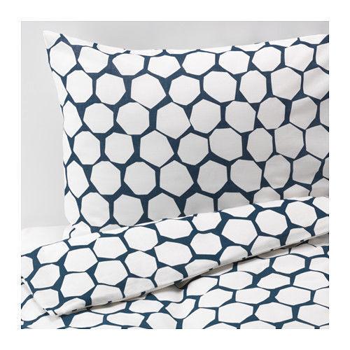 Ikea Flong Double Duvet Quilt Cover & 4 Pillowcases - Navy White 503.090.54