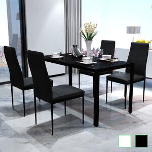 Dettagli su vidaXL Set Tavolo da Pranzo e Sedie Cucina Sala 5 pz Nero/Nero  e Bianco