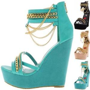 71dfbbe3bdb Image is loading Open-Toe-Dangling-Gold-Chain-Platform-Wedge-Gladiator-
