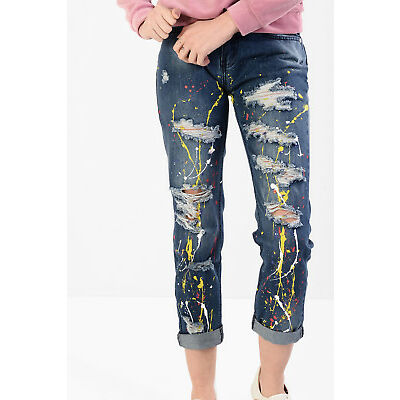 Womens Blue Ripped Boyfriend Jeans Paint Splatter Faded Distressed Frayed Retro