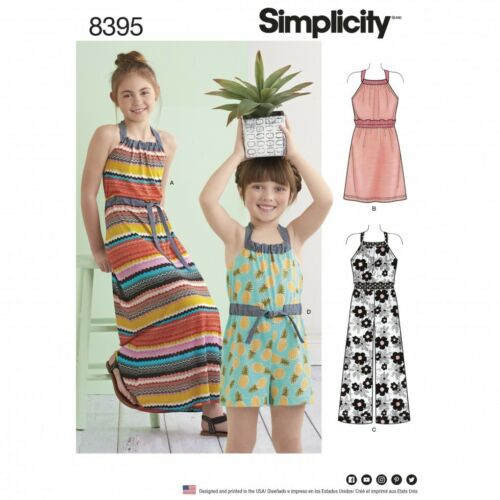 Simplicity Girls Sewing Pattern 8395 Halter Dress /& Romper Simplicity-83...