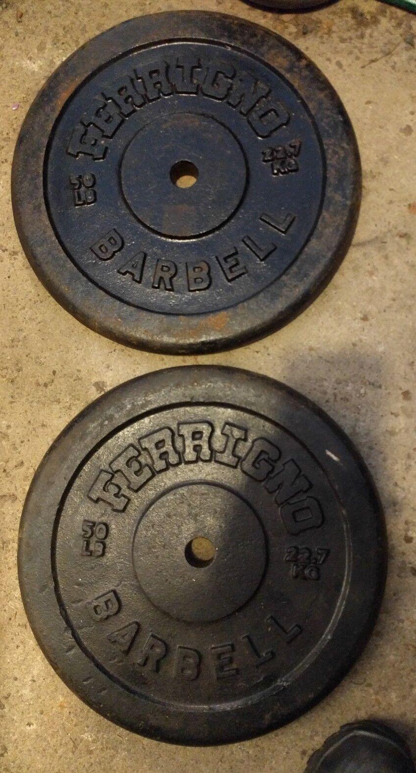 Ferrigno Standard 50 lb Pair Weight Plates Vintage 1 1/16