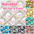 (Small Qty) Navette 3223 Glass All Size Color Crystal Flatback Sew On Rhinestone