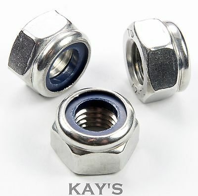 A4 Marine Grade Stainless Steel Nyloc/Nylon Insert Locking Nuts M3,4,5,6,8,10,12