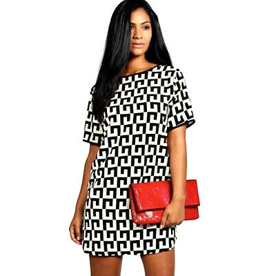 Sexy Women Summer Short-Sleeved Evening Party Cocktail Casual Short Mini Dress