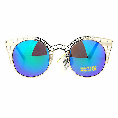 SA106 Hippie Color Lens Lattice Metal Wire Rim Round Cat Eye Sunglasses