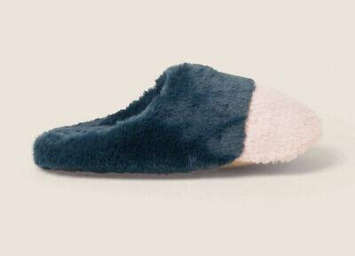 BNWT Fat Face Colour Block Fluffy Mule Slippers-Petit 3-4 Vert//Rose