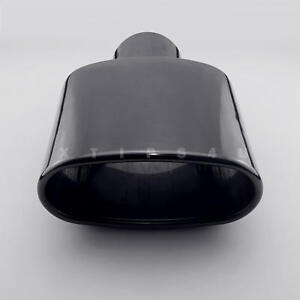 "Tri-hybers black exhaust tip oval 2.5/"" inlet rolled edge angle cut resonated"