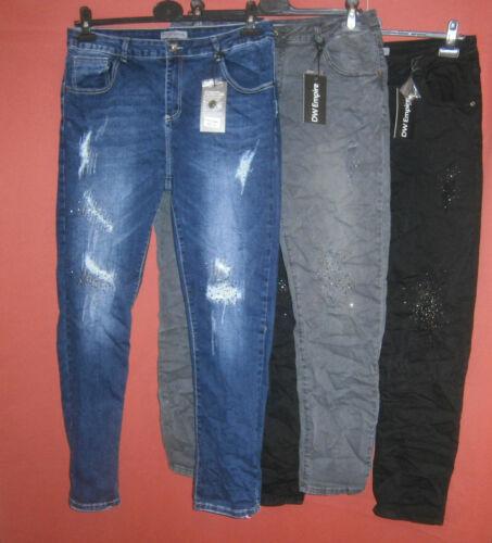 44-46 48-50 DW EMPIRE Boyfriend Stretch Jeans Destroy Glitzer 3 Farben