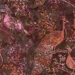 Hoffman-Batik-Bali-Chop-Peacock-K2474-515-Rum-Raisin-Cotton-Batik-Fabric-BTY