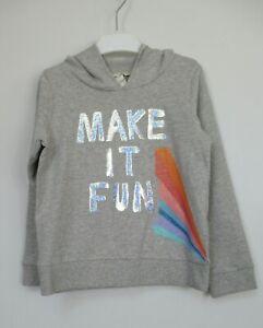 New monsoon Girls Hoodie Sparkle Make It Fun Top Cotton Jersey Age 5 - 13