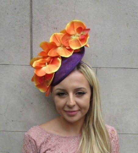Orange Violet Orchidée Fleur Soucoupe Disque Chapeau Bandeau courses cheveux 6258