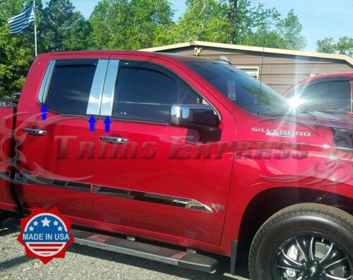 2019-Up Chevy Silverado//Sierra Crew+Double Cab Stainless Pillar Post Trim 6Pc