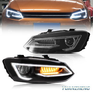 LED Headlights For 2011-2017 VW Polo MK5 6R 6C Sequential Front Lamps 1 Pair