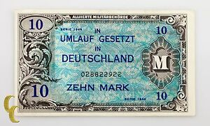 1944-Germany-Post-WWII-Allied-Military-Currency-10-Mark-VF-Condition