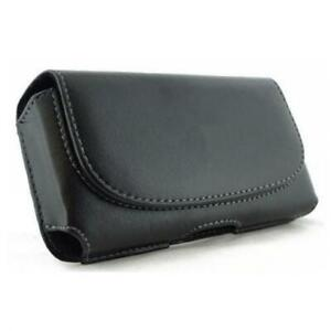 BLACK-HORIZONTAL-LEATHER-SIDE-CASE-COVER-POUCH-HOLSTER-BELT-CLIP-for-CELLPHONES