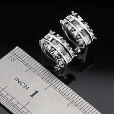 Black Sapphire & White Topaz Gemstone 925 Silver Earrings +  gift box
